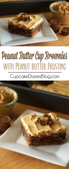 Peanut Butter Cup Brownies with Peanut Butter Frosting - Perfectly moist and chewy chocolate brownies with chunks of peanut butter cups inside, topped with a smooth and creamy peanut butter frosting. Amazing!!