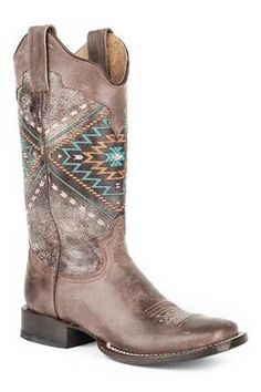 Roper Native Embroydery Square Toe Brown Lthr Native Boots - Urban Western Wear