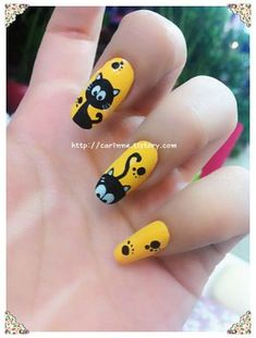 There are three kinds of fake nails which all come from the family of plastics. Acrylic nails are a liquid and powder mix. They are mixed in front of you and then they are brushed onto your nails and shaped. These nails are air dried. Cat Nail Art, Animal Nail Art, Cat Nails, Cat Nail Designs, Disney Nails, Yellow Nails, Dream Nails, Halloween Nail Art, Pretty Nails