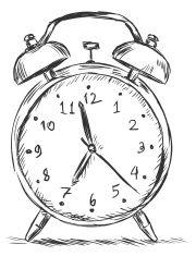 vector sketch illustration - alarm clock vector art illustration