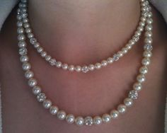 Double Strand Pearl Necklace Handcrafted