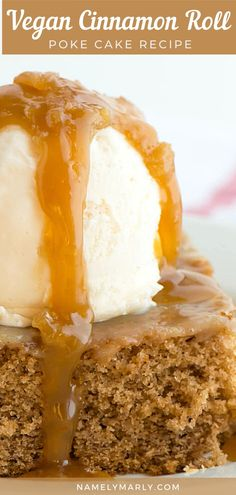 You'll love this vegan cinnamon roll poke cake absolutely infused with cinnamon and caramel sauce. Be sure to serve it with some vegan ice cream. Delish!   #namelymarly #pokecake #vegancakes #vegancaramel Best Vegan Desserts, Easy No Bake Desserts, Vegan Dessert Recipes, Delicious Vegan Recipes, Vegan Sweets, Sweets Recipes, Desert Recipes, Gourmet Recipes, Snack Recipes