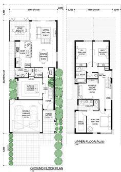 Malmo - Residential Attitudes Two Storey House Plans, Narrow Lot House Plans, 2 Storey House Design, Duplex Design, Townhouse Designs, House Layout Plans, Dream House Plans, Modern House Plans, House Layouts