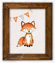Renard pépinière Art Print, Fox Nursery décor, Art mural renard, Baby Shower Gift, Woodland Nursery décor, Woodland pépinière impression, Printable art.