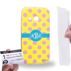 Case88 [HTC One mini 2 / One Remix] Gel TPU Phone case & Warranty Card - Personalized Monogram Polkadots Design DSE0200 - Brought to you by Avarsha.com