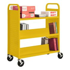 Double-Sided Combination Shelf Book Truck w/ Flat Top Shelf - Shown in yellow