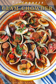This tomato-based clam chowder with Portuguese sausage is to die for.  So comforting and comes together in less than an hour.  Amazing!
