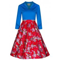 Lindy Bop Fiftiesjurk in blauw en rood