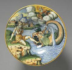 Plate Depicting Jonah  Plate Depicting Jonah, late 1500s France, Lyon, 16th century tin-glazed earthenware (maiolica),