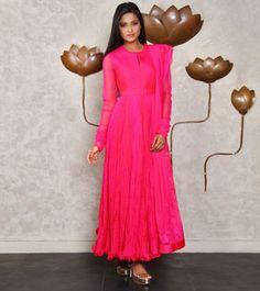 Hot Pink Crinkled Chamundi Silk Anarkali