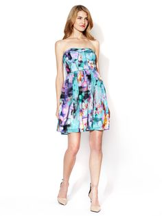 Sweetheart Piped Strapless Silk Dress by Alex + Alex at Gilt
