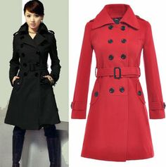 Wool Coat Military Trench Coat Belted Double-Breasted Long Jacket $40