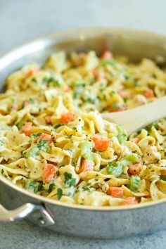 Damn delicious Creamy Chicken Noodle Pasta - This is like everyone's favorite chicken noodle soup except in creamy, melt-in-your-mouth pasta form! It's seriously AMAZING. Creamy Chicken Pasta, Chicken Pasta Recipes, Healthy Pasta Recipes, Healthy Pastas, Cooking Recipes, Chicken Noodles, Pasta Meals, Zoodle Recipes, Pasta Food