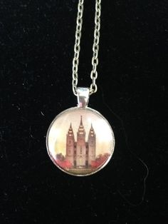 LDS Temple Pendant Necklace or Keychain (Salt Lake City Ut) by EverythingsDuckyBout on Etsy