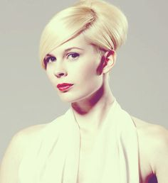 Short Haircut for Women- this is slicked back in a boufont giving a fake updo