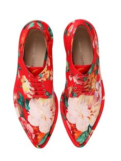 SIMONE ROCHA - 30MM PRINTED FAUX LEATHER DERBY SHOES - LUISAVIAROMA - LUXURY SHOPPING WORLDWIDE SHIPPING - FLORENCE