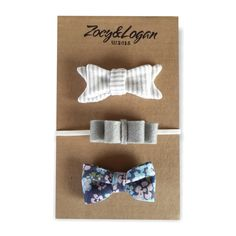 @zoeyandlogan Floral Newborn Hair Bow Collection. The Floral Newborn Hair Bow Collection is made up of three beautiful handmade Zoey & Logan hair bows that have been hand-crafted to create the perfect hair accessory for your child. Zoey & Logan hair bows can be used for all occasions whether it be a birthday party, a wedding or a play-date with friends.