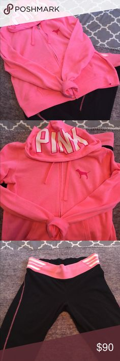 RARE VS Pink set ( large ) HTF beautiful set !! This is one of my favs it's so pretty ! But need to downsize 😔  Full zip hoodie large   High Waist Yogas large    Price is firm for now ! Please stop 🛑 lowballing me ! I may be newer on here but have been selling for years elsewhere!  Feel free to ask any questions 😊 No rude comments ! Drama free  I will block if you are rude or disrespectful! I have met so many beautiful women on here and have no time for rude people ! PINK Victoria's…