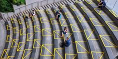 Bright Tape Promoting Social Distancing Transforms Public Architecture in Singapore – Zea Tech HD Public Architecture, School Architecture, School Signage, Shopping Mall Interior, What Is Design, Iconic Album Covers, Mall Design, Tape Art, Complex Systems