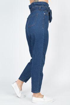 Paper Bag Denim Jeans   KjSelections Jeans Denim, Sexy Jeans, Mom Jeans, Jean Sexy, Capri, Women Lifestyle, Complete Outfits, Dark Denim, Dress Making