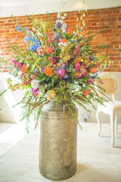 Wedding Flowers in the Ceremony Room at Sopley Mill