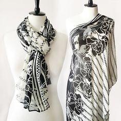 Black & White Monochrome Floral Print Chiffon by BrookandEnvy