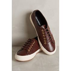 Superga Leather Lace-Up Sneakers ($119) ❤ liked on Polyvore featuring shoes, sneakers, wine, leather lace up shoes, twisted shoes, superga shoes, rubber sole shoes y synthetic shoes