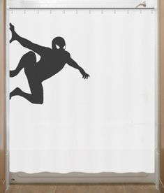 Hanging Spiderman Shower Curtain bathroom decor by SHOWERCURTAINS