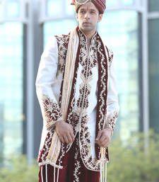 Buy white zari brocade sherwani sherwani online