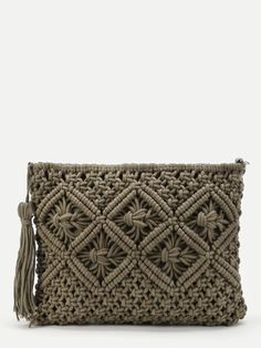 SheIn - SheIn Crochet Clutch Bag With Tassel - AdoreWe.com