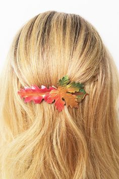 Fall Leaf Hair Barrette Fall leaves Hair Clip by barrettequeen