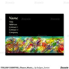 ITALIAN CARNIVAL /Dance ,Music,Theater Artist Large Business Cards (Pack Of 100)