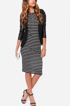 Mountain Retreat Black and White Stripe Midi Dress – ShopLuckyDuck
