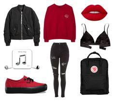 """""""black n´ red"""" by weird-grl on Polyvore featuring Madewell, H&M, Vans, Topshop, Fjällräven and Happy Plugs"""