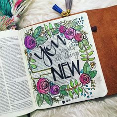 "And HE who was seated on the throne said, ""Behold I am making ALL THINGS NEW."" Also he said, ""Write this down, for these words are TRUSTWORTHY and TRUE."" What a promise in Revelation!  Thank you Jesus!! I had such a wonderful and special time journaling with the ladies in Mansfield, Texas tonight!! Y'all were awesome! ❤️ #illustratedfaithdaily2016 #illustratedfaith #wethreekingsillustrated #journalingbible #biblejournalingdaily #journalingbiblecommunity #biblejournalingcommunity"