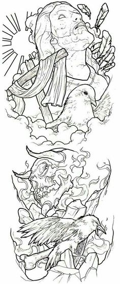 good / evil conflict tattoo sleeve idea photo by ronnie hicks Religion Tattoos, Tattoo Design Drawings, Tattoo Sketches, Tattoo Designs, Tattoo Outline Drawing, 4 Tattoo, Body Art Tattoos, Spray Tattoo, Good And Evil Tattoos
