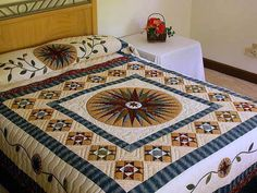 Mariner's Compass Quilt -- marvelous ably made Amish Quilts from Lancaster (hs511)