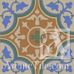 "Mission Roseton - A 8"" x 8"" Handmade Cement Tile"