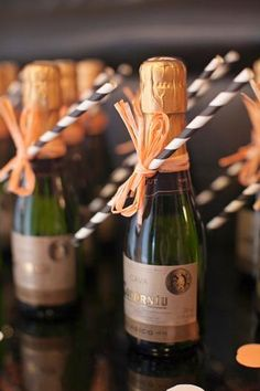 Great favors for a peach and black wedding