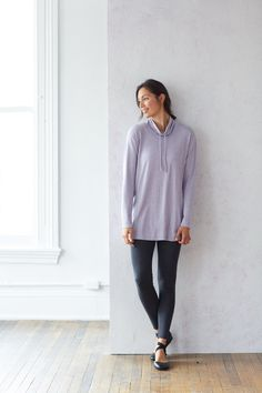 Pure Jill cowl-neck seamed tunic (in allium heather).