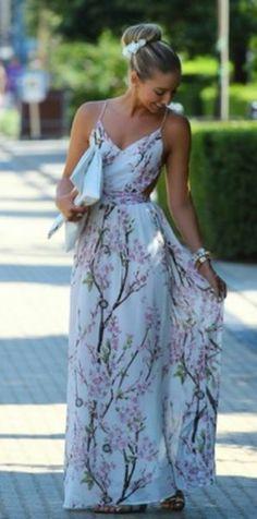 Apricot Florals V-neck Spaghetti Straps Backless Maxi Dress - Bernard Lafond Furs Backless Maxi Dresses, Floral Maxi Dress, Dress Skirt, Dress Up, Pretty Dresses, Beautiful Dresses, Dress To Impress, Party Dress, Glamour