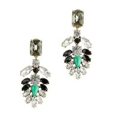2013 Colored gems of white crystal VINTAGE EARRINGS Green JC60 $15.00