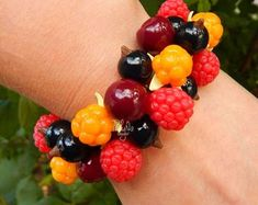 Forest colorful berry charm bracelet - woodland jewelry - Eco friendly jewelry - Botanical jewelry - nature lover gift - eco rustic wedding