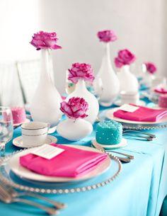 #tavola #azzurro #rosa