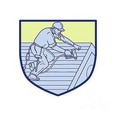 Roofer Working On Roof Shield Mono Line by Aloysius Patrimonio