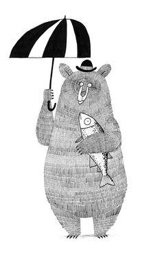bear with fish & umbrella - jim field