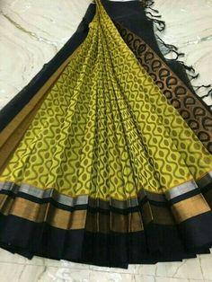 Silk cotton saree from shiny pleats Kanchi Organza Sarees, Kuppadam Pattu Sarees, Silk Cotton Sarees, Handloom Saree, Indian Sarees, Kurti Neck Designs, Saree Blouse Designs, Sarees For Girls, Saree Dress