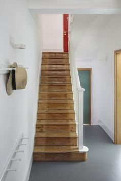 Replicate this. Those stairs! - Eaton Terrace extension and renovation by Project Orange Tiled Staircase, Painted Staircases, Wood Stairs, House Stairs, Staircase Design, Interior Design Studio, Interior Design Inspiration, Verona, Restore Wood