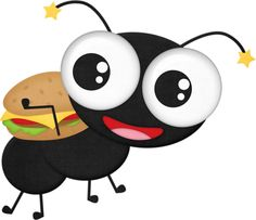 Ant with a hamburger