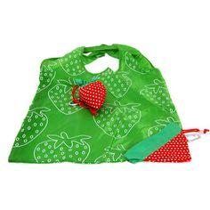 Folding Nylon Pocket Shopper - Strawberry